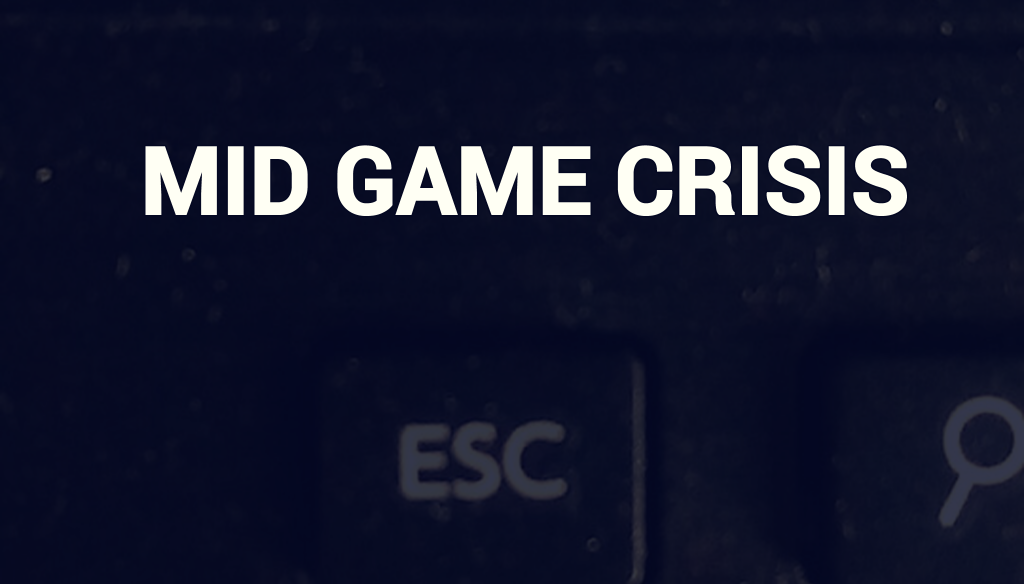 Mid Game Crisis - Heroes Villains Gamers game by Krishna Stott